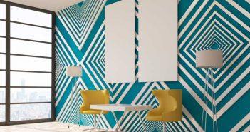 Geometrische vormen aan de muur: volg de nieuwste behangtrends