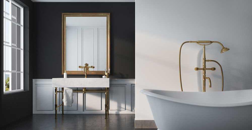 Goud in de badkamer: voorbeelden en inspiratie