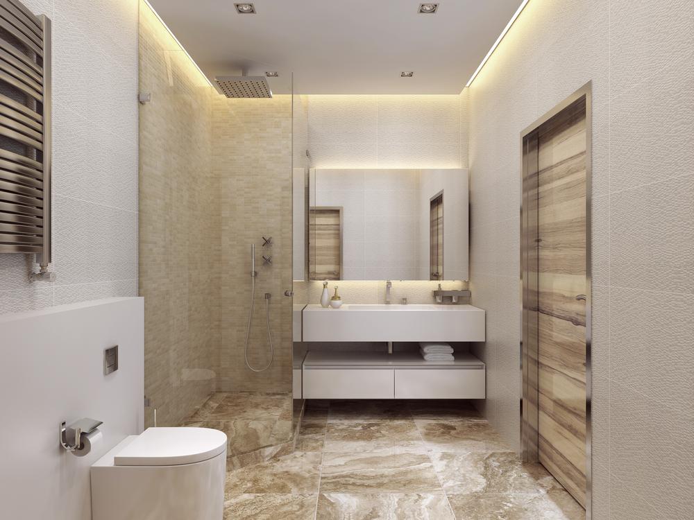 Een beige badkamer combineren met wit