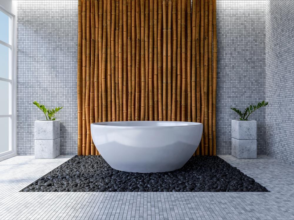 Interieur bamboe: in de badkamer
