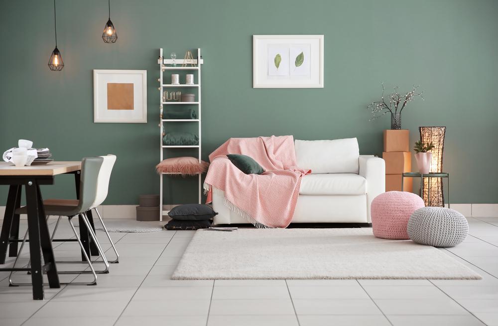 Kleurencombinaties woonkamer: roze en groen
