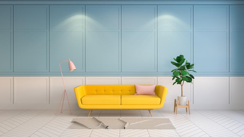 Geel met blauw als woonkamer kleuren